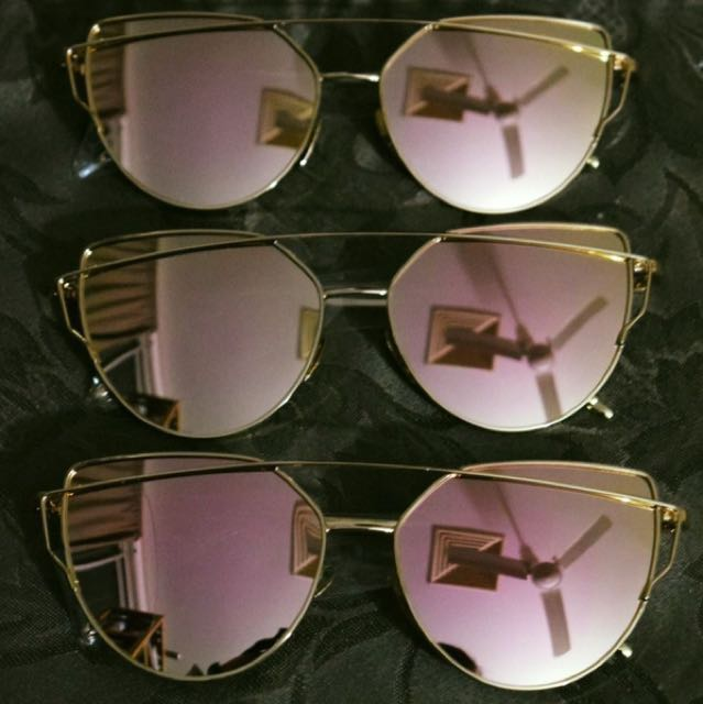 Rose Gold Pink Reflective Mirror Cat's Eye Aviator Sunglasses