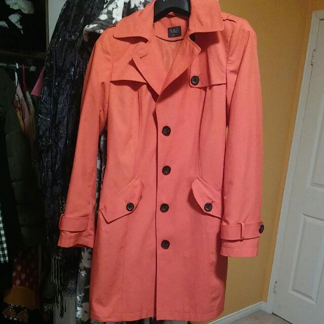 Salmon Cokoured Raincoat Never Worn From M&S In UK