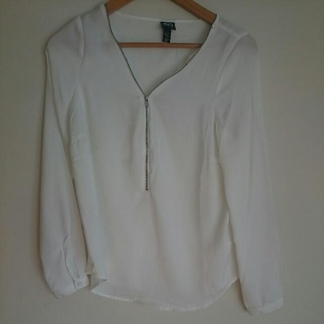 Silky White Shirt Blouse Size 8