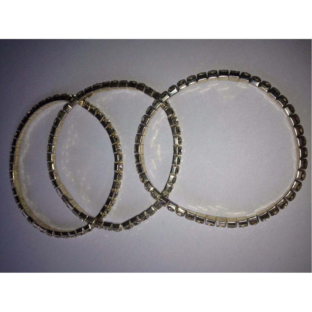 Silver-Gold Faux Diamond Bracelet