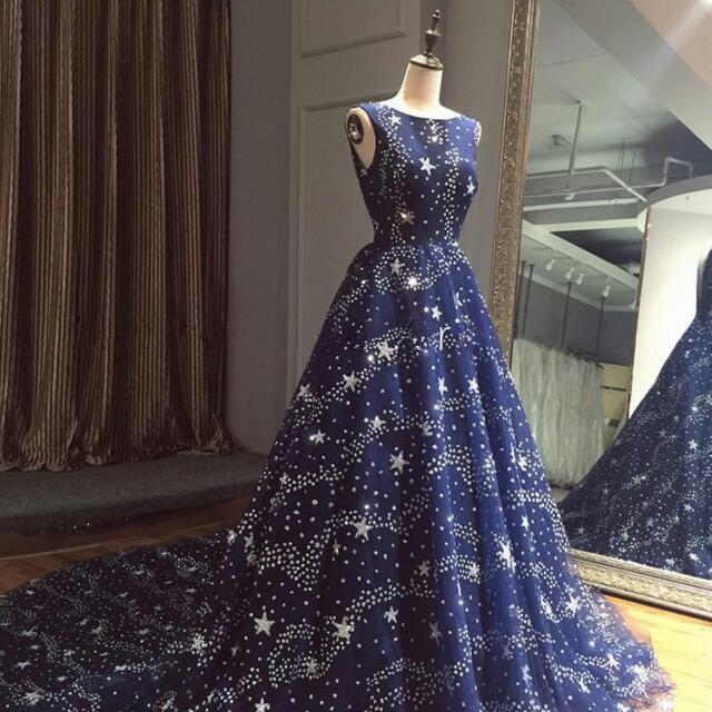 Stunning Starry Night Sky Stars Long Navy Prom Dress Womens