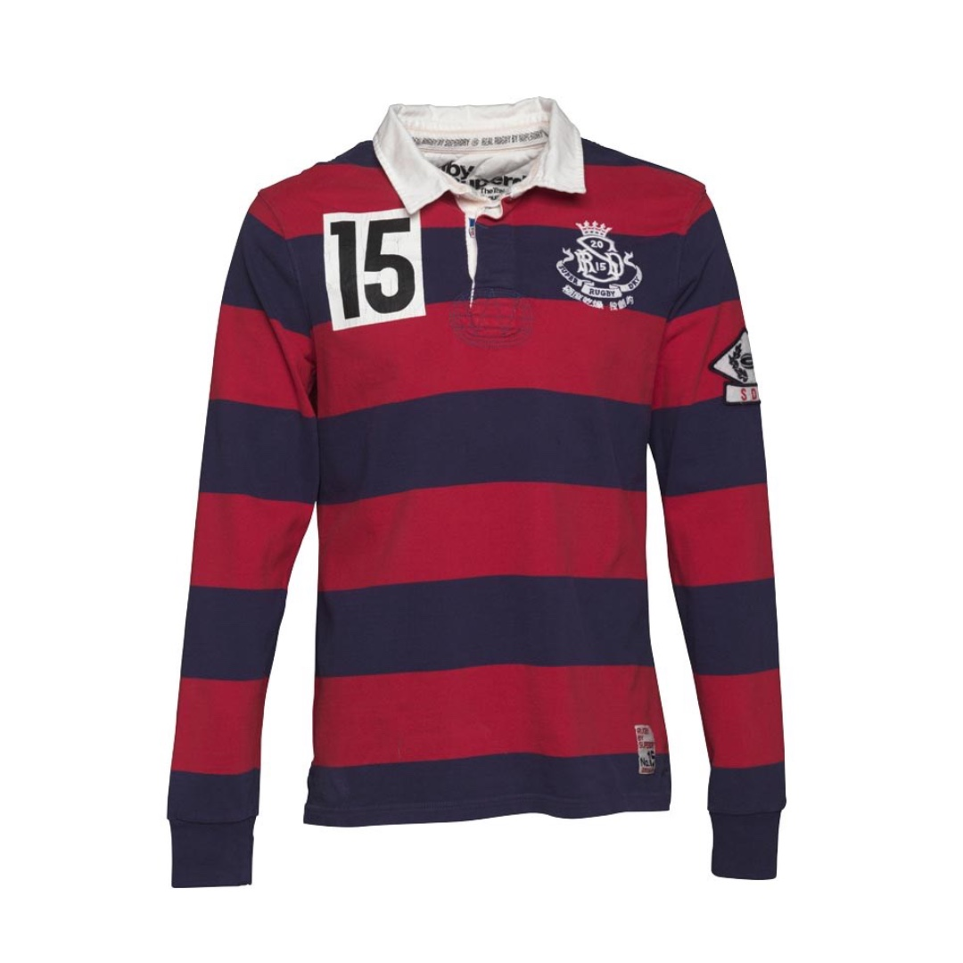 2b3f2adb1bd Superdry Mens Training Ground Rugby Top Hoop Stripe Red, Men's ...
