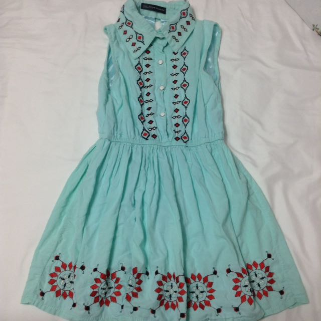 Teal Cut Out Back Dress With Embroidery
