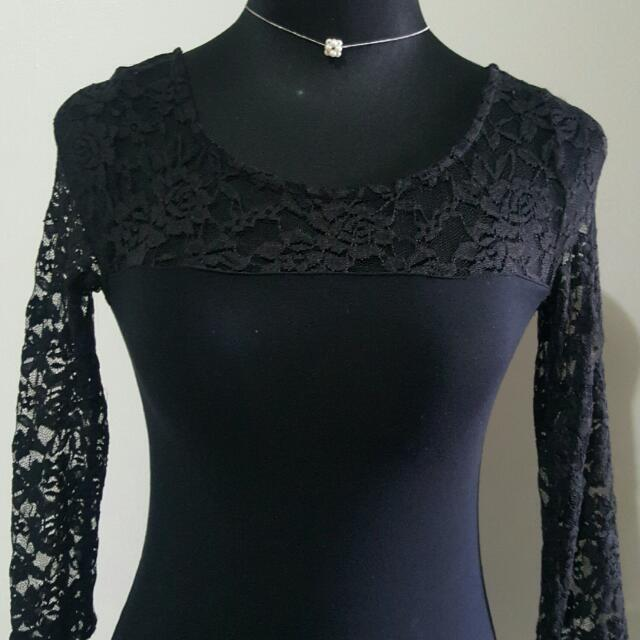 Terranova Cotton Black Dress With Lace Top And Sleeve