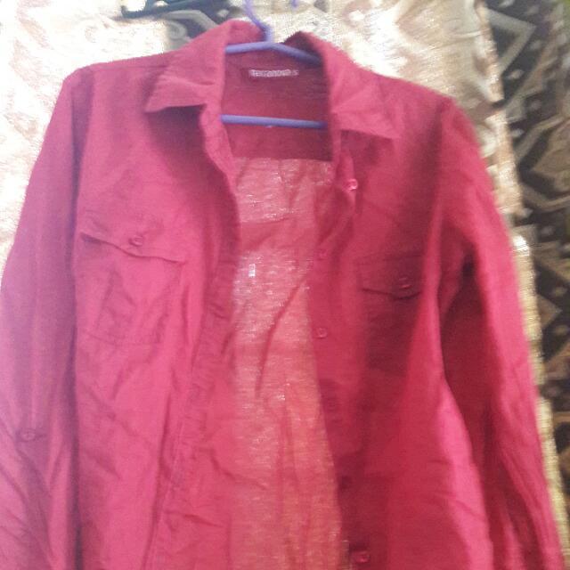 Terranova Red Button Down Long Sleeves