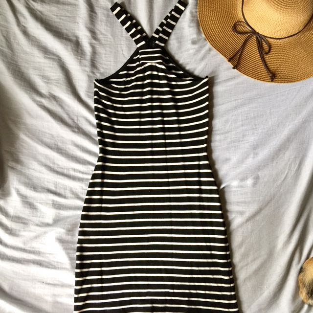 TOPSHOP striped Halter Dress