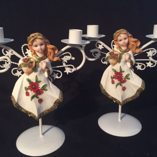 Two Angel Candle Holders