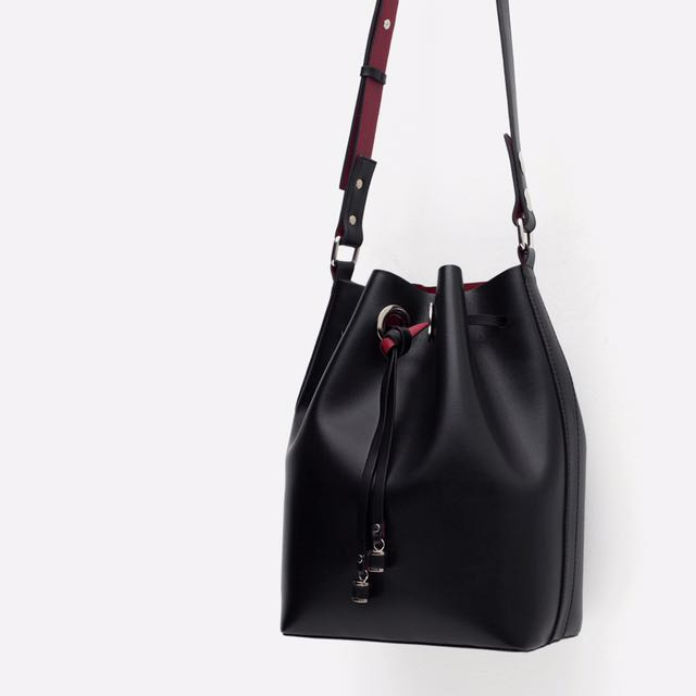 78ccd6a8994 Zara Bucket Bag Black With Red Interior Lining, Women's Fashion, Bags &  Wallets on Carousell