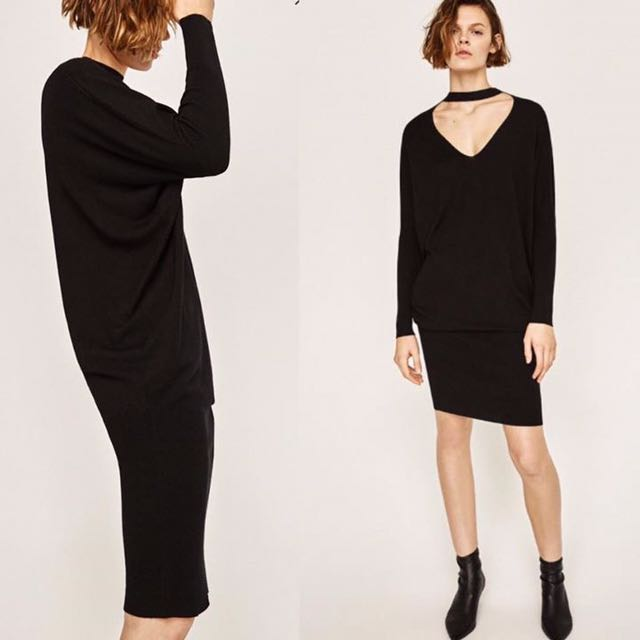 ZARA V-neck Sweater Dress