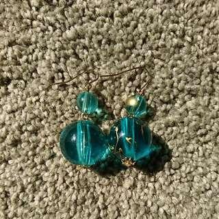 Ocean blue double bead earrings