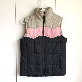 Size S-M Puffy Vest Pink Black Grey