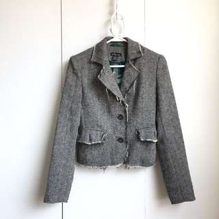 Size S Vintage Rugged Frayed Edge Tweet Black And White Blazer Jacket Short