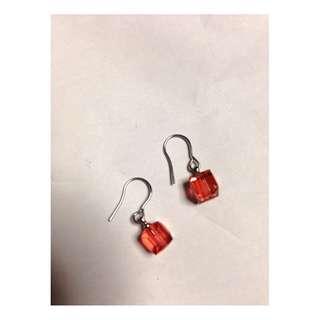 Swarovski Crystal Pink Cube earrings