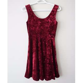 FOREVER21 Velvet Maroon Dress
