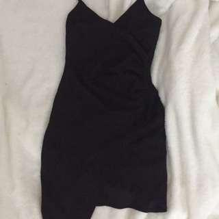 Mendocino black Assymetrical Slit dress
