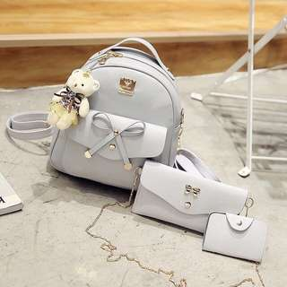 Set 4 PC of PU leather backpack, shoulder bag,card holder and cute teddy bear (grey color)