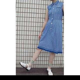 古著藍色格紋無袖洋裝