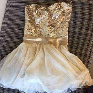 Gold Strapless Short Ball Dress