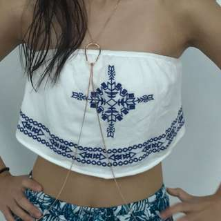 White/ Blue Bandeau Top Cropped Top