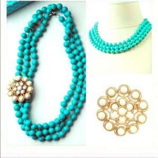 Beautiful Turquoise Statement Necklace For Sale.