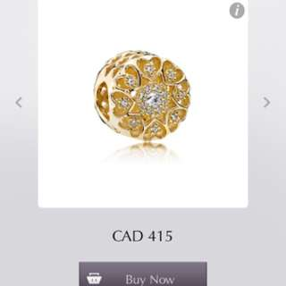 Hearts Of Gold Pandora Gold Charm 14ct