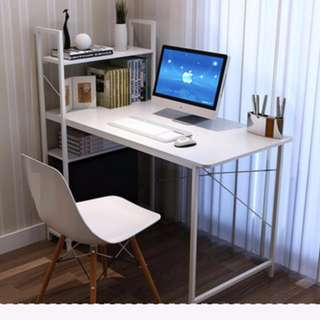 Simple and Neat Desktop Table + Bookshelf (White)