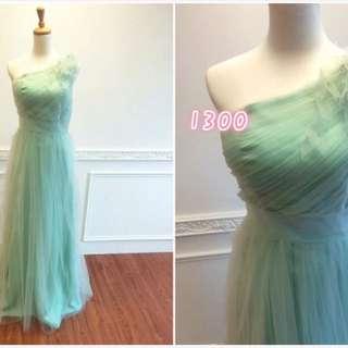 蘋果綠單肩新娘禮服/婚紗