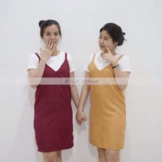 playsuit/jumpsuit / dress / baju terusan wanita yellow and red colour (ready bkk)