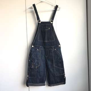 Size m/size 27 Dark Blue Jeans Overall Shorts With Adjustable Shoulder Belt