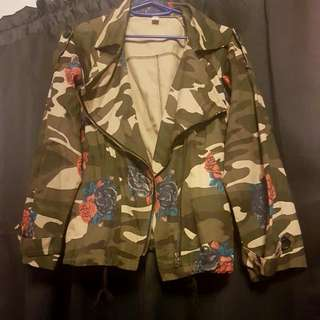 Army Green Floral Jacket
