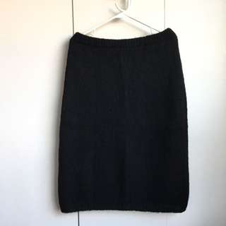 Size L-Xl Vintage Mixed Wool Angora Black Sweater Skirt Vintage!!!
