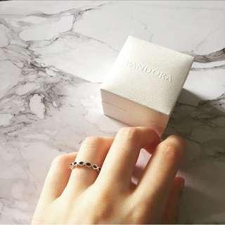 🆕PANDORA Sterling Silver Black Enamel Ring