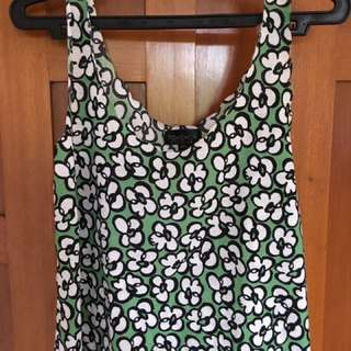 Top shop green printed shirt