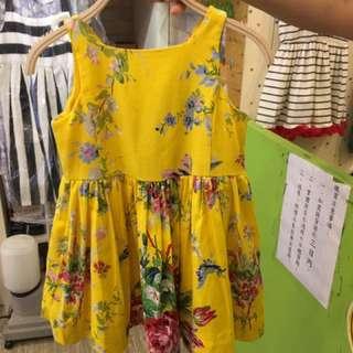 👗門市購買/剪標polo/超美💕黃色花雙面背心洋裝/2T有內裡