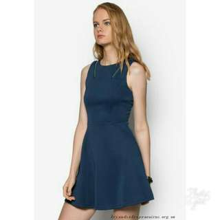 Something Borrowed Trim Insert Fit And Flare Dress Navy