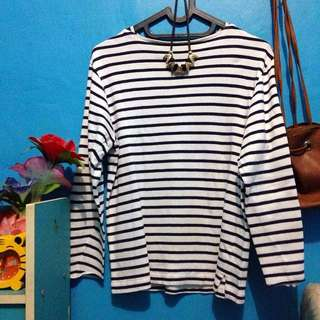 kaos garis strip navy