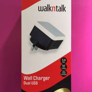 Walk N Talk 3.4amp Wall Charger Dual USB With 2 Years Manufacturers Warranty Cables Not Included