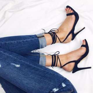 Windsor Smith Crystal Lace Up Heel Sandals