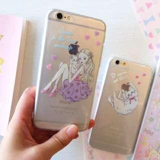 日本 girly手繪貓女郎/貓女孩/兔女郎iphone手機殼