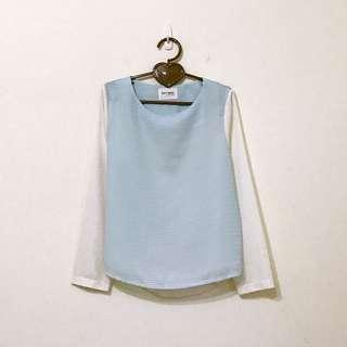 韓版粉藍淺藍米白拼接格紋織紋雪紡上衣