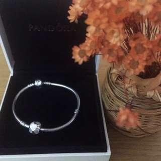 Pandora standard bracelet and precious heart charm