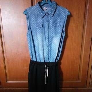 Jumpsuit Dress Berkerah Warna Biru