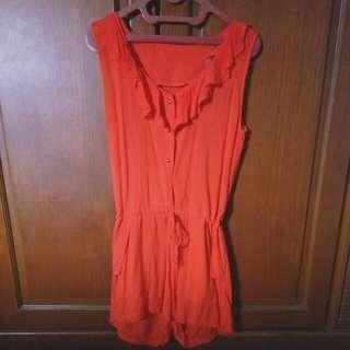 Jumpsuit Celana Warna Orange