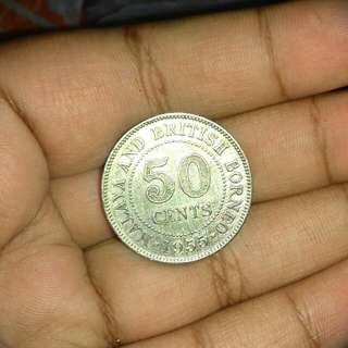 1955  Malaya 50 Cents (Can Nego)