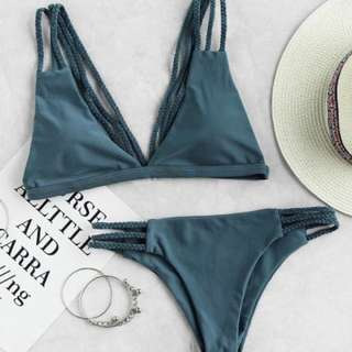 Green/blue/grey-ish Braided Bikini