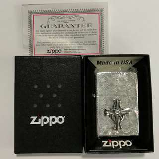 Zippo Lighter CROSS METAL Silver Two Sides Etching 20CMA-S (Japan Model)