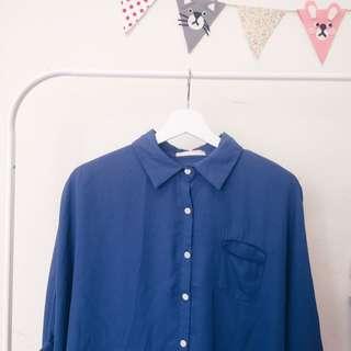 藍色蝙蝠袖襯衫