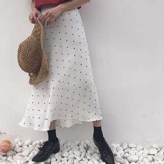 春夏季韓版女裝高腰顯瘦雪紡半身裙百搭中長款A字裙女長裙包臀裙