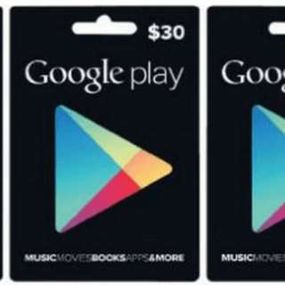$30 Google Play Gift Card
