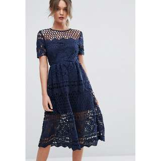 Boohoo Corded Lace Panelled Skater Dress